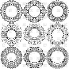 black frames with ornamental borders vector clipart image