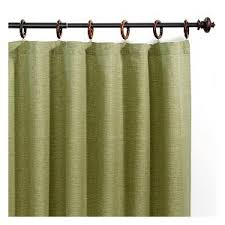 jaya green melange canvas curtains with wood rings set of 2