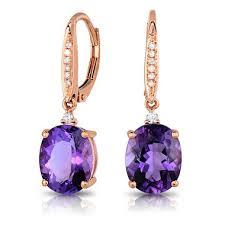 amethyst earrings oval cut amethyst earrings with diamonds in 14k gold sam s club
