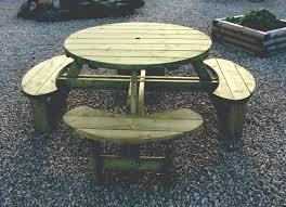 softwood round garden table plus bench somerlap uk