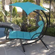 Outdoor Hanging Lounge Chair Hanging Chaise Lounger Chair Porch Patio Swing Hammock Canopy