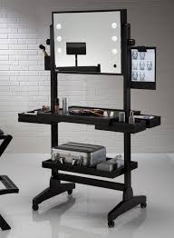 professional makeup lighting black portable vanity set with lighting and mirror decofurnish
