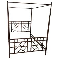 Metal Canopy Bed Queen Chinese Chippendale Faux Bamboo Vintage Metal Canopy Bed