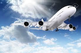 3d large passenger plane flying in the blue sky stock photo