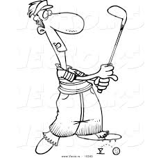 vector of a cartoon male golfer barely knocking the ball off the
