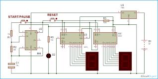 Simple Circuit Diagrams Beginners Digital Stopwatch Circuit Diagram Using 555 Timer Ic U0026 Cd 4033