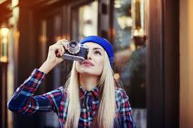 hipster girl stylish happy smiling hipster girl with old retro vintage camera