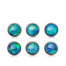 blue opal earrings opal uranus stud earrings yellow gold black rhodium accents