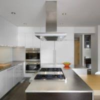 Modern Kitchen Range Hoods - brown kitchen decorating using large rectangular stainless steel
