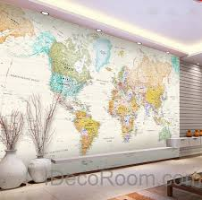 colorful hd world map wallpaper wall decals wall art print mural