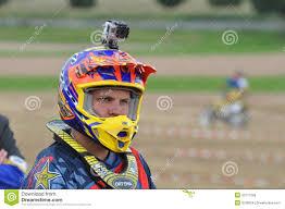 go pro motocross motocross driver with mounted helmet camera editorial photo