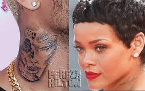 chris brown u0027s neck tattooo is not rihanna rep says it