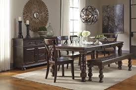 Dining Room Sets Bench Signature Design By Ashley Gerlane 9 Piece Solid Pine Dining Table