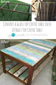 Coffee Table Into Bench Evejulien Update A Glass Top Coffee Table With A Pallet