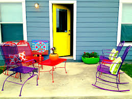Colorful Patio Furniture Yellow Door Blue House Luchador Welcome - Yellow patio furniture