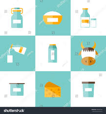 Lactose Intolerance Cottage Cheese by Set Modern Flat Icons Products Containing Stock Vector 285849734