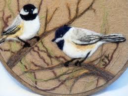 wool painting needle felted chickadees needlefelt art