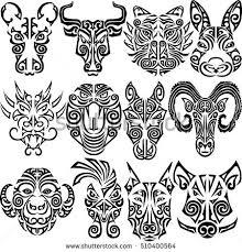 zodiac signs set rat ox stock vector 510400564