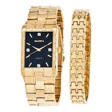 gold bracelet mens watches images Elgin men textured watch and bracelet set walmart canada jpg