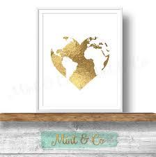 Metallic Home Decor by Gold Heart Globe Wall Art Printable Gold Foil Globe Decor