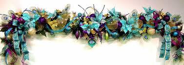 peacock mantel garland prelit lights turq poinsettias