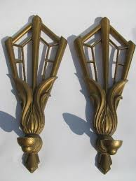 Gold Wall Sconce Candle Holder Art Deco Gold Fan Candle Sconces Pair Vintage Metal Wall