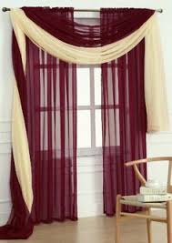 Sheer Maroon Curtains Semi Sheer Window Scarf 54 X 216 Home Decor