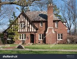 old brick english tudor house slate stock photo 588993953