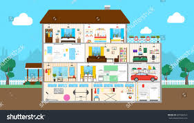 Bathroom And Kitchen Designs House Interior Set Outside House Bedroom Stock Vector 604426922