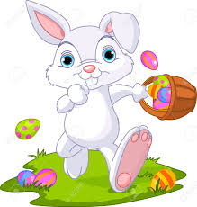 easter bunny easter bunny hiding eggs royalty free cliparts vectors and