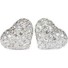 large stud earrings 2 80ctw heart diamond stud earrings 585 14k white gold pierced