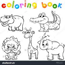 set wild animals first coloring book stock vector 221282689