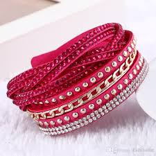rhinestone bracelet charms images Women new fashion pu leather wrap wristband cuff punk rhinestone jpg