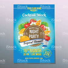 cocktail tropical party poster stock vector art 669573632 istock