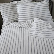 lx auberge french grey or blue stripe ticking duvet set includes