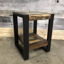 reclaimed wood end table small condo reclaimed wood industrial end table rustic furniture
