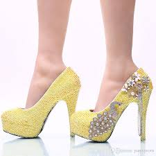 wedding shoes nz lemon yellow rhinestone wedding party shoes handmade bridal dress