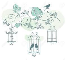 uccelli in gabbia priorit罌 bassa floreale con uccelli in gabbia clipart royalty free