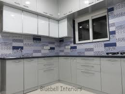 lacquered glass kitchen cabinets grey blue modular kitchen white lacquered glass shutters