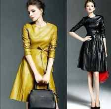 unbranded faux leather long sleeve dresses for women ebay