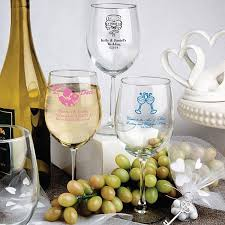 wedding favors personalized 12 oz custom printed white wine glass wedding favors