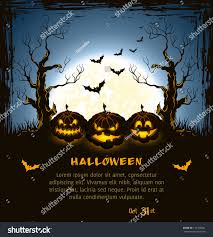 blue grungy halloween background spooky pumpkins stock vector