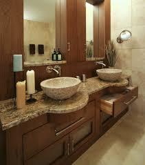 Custom Bathroom Vanity Tops Entrancing Design Ideas Using Brown Granite Countertops And Silver