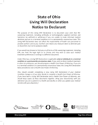 Special Power Of Attorney Authorization by Free Ohio Living Will Declaration Advance Directive Pdf