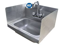 stainless steel hand sink wall mount amazon com stainless steel hand sink with side splash nsf