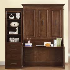 natanielle full murphy bed with desk and storage cabinet walnut