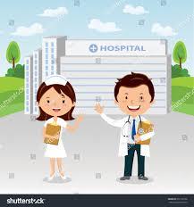 Doctor And Nurse Doctor Nurse Hospital Doctor Nurse Gesturing Stock Vector