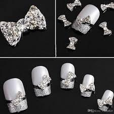3d shiny bow tie crystal rhinestone alloy nail art glitter