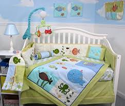 Aquarium Bed Set Soho Gold Fish Aquarium Baby Crib Bedding Set 13 Pcs