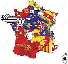 Nba Usa Map by Old Map Of France With Flags Of Administrative Divisions Stock